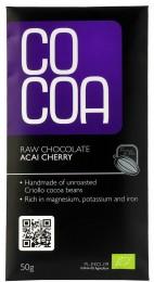 Cocoa Bio čokoláda RAW s acai a třešněmi