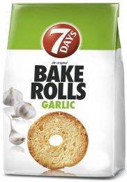 7Days Bake Rolls Křupavé chlebové chipsy s příchutí česneku