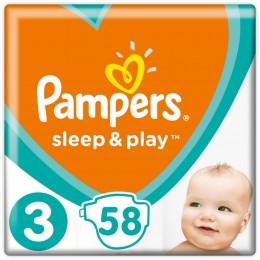 Pampers Sleep & Play Dětské plenky 6–10 kg (velikost 3) Důvěrný Pocit Sucha 58 ks