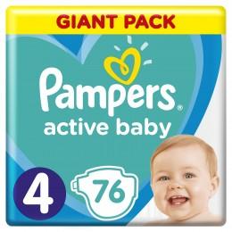 Pampers Active Baby-Dry dětské plenky MAXI (Velikost 4) 76 ks