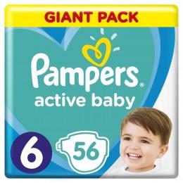 Pampers Active Baby Velikost 6, 56 Plenek, 13–18 kg