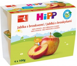 HiPP 100% Bio jablka s broskvemi (4x100g)