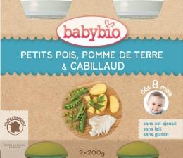 BABYBIO Hrášek a brambory s islandskou treskou