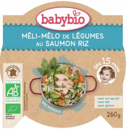 BABYBIO Zelenina s lososem a rýží