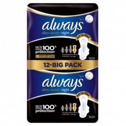 Always Ultra Secure night protection hygienické vložky 12 ks