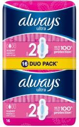 Always Ultra Super Plus Hygienické Vložky s křidélky 16ks
