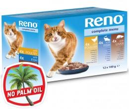 Reno kapsičky pro kočku ve šťávě 4x s rybou, 4x s drůbežím a 4x s játry
