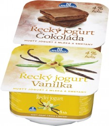 Milko Řecký jogurt 4% vanilka/čokoláda, 2x140g,