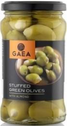 GAEA Zelené olivy plněné mandlemi ve slaném nálevu