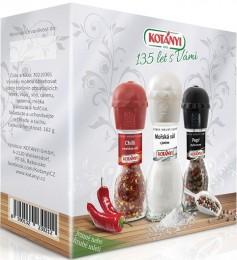 Kotányi Krabička se 3 mlýnky (pepř, sůl, chilli)