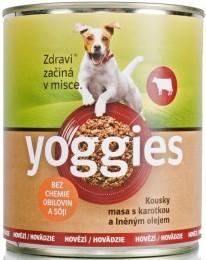 Yoggies hovězí konzerva pro psy s karotkou a lněným olejem