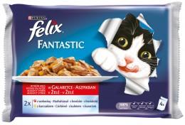 Felix Fantastic s hovězím a kuřetem v želé 4x100g