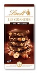 Lindt Les Grandes hořká čokoláda s lískovými ořechy