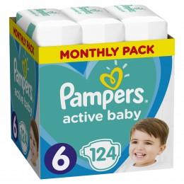 Pampers Active Baby Velikost 6, 124 Plenek, 13–18 kg