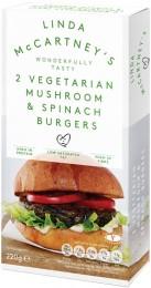Linda McCartney Vegetariánské burgery s houbami a špenátem mražené
