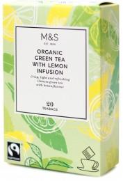 Marks & Spencer Zelený čaj organický s příchutí citrónu v nálevových sáčcích