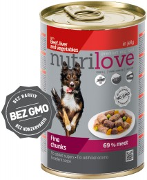 Nutrilove dog chunks, jelly BEEF LIVER VEGIE