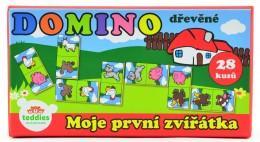 Teddies Domino Moje první zvířátka dřevo společenská hra