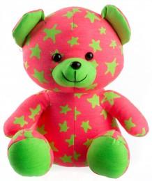 Teddies Medvídek svítící ve tmě růžový/zelený plyšový