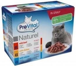 Prevital NATUREL kapsičky pro kočky hovězí, kuřecí a losos 12x85g