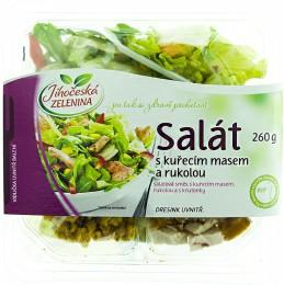 Jihočeská zelenina Salát s kuřecím masem, rukolou a hořčicovým dresinkem