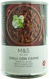 Marks & Spencer Chilli con carne mleté hovězí maso v rajčatové omáčce