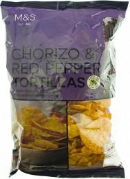 Marks & Spencer Kukuřičné tortilla chipsy s příchutí choriza a červené papriky