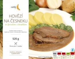 Rohlik.cz Hovězí na česneku se špenátem a knedlíkem