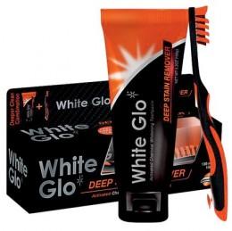 White Glo Charcoal - bělící zubní pasta s aktivním uhlím + zubní a mezizubní kartáček