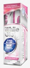 White Glo Sensitive Forte - bělící zubní pasta pro citlivé zuby + zubní a mezizubní kartáček