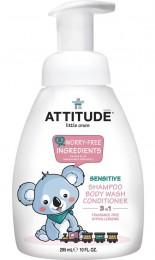 Attitude Dětské tělové mýdlo, šampon a kondicionér (3 v 1) bez vůně