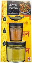 Marks & Spencer Kari omáčka Keralan, pasta masala a sáček koření na přípravu kari