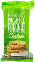 Marks & Spencer Máslové sušenky s kousky bílé čokolády, kousky sušeného ananasu a se sušeným kokosem