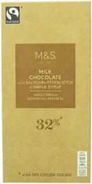 Marks & Spencer Mléčná čokoláda s javorovým sirupem a kousky slaného máslového karamelu