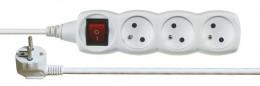Prodlužovací kabel s vypínačem bílý, 3 zásuvky, 2m