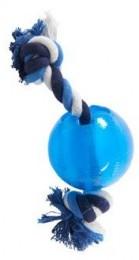 Kruuse Hračka pro psy BUSTER Strong Ball s provazem sv. modrá, L