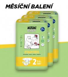 Muumi Baby Mini 3-6 kg, vel.2, měsíční balení eko plen, 3x58 ks