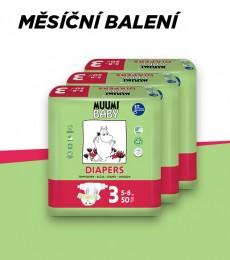 Muumi Baby Midi 5-8 kg, vel.3, měsíční balení eko plen, 3x50 ks