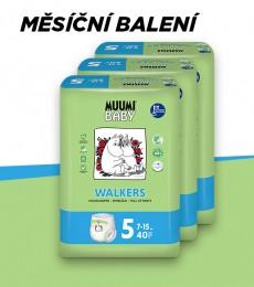 Muumi Baby Walkers Maxi+ 7-15 kg, vel. 5, měsíční balení eko plenkových kalhotek, 3x40 ks