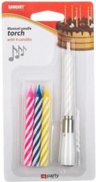 Banquet Svíčky narozeninové MY PARTY Music, 4 ks, mix barev