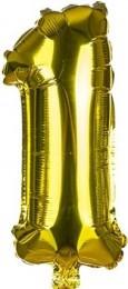 Banquet Balónek zlatý nafukovací foliový číslo 1, 1ks