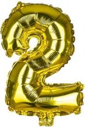 Banquet Balónek zlatý nafukovací foliový číslo 2, 1ks