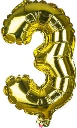 Banquet Balónek zlatý nafukovací foliový číslo 3, 1ks