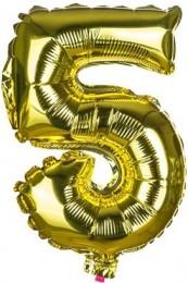 Banquet Balónek zlatý nafukovací foliový číslo 5, 1ks