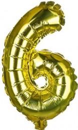 Banquet Balónek zlatý nafukovací foliový číslo 6, 1ks