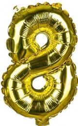 Banquet Balónek zlatý nafukovací foliový číslo 8, 1ks