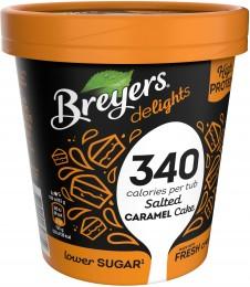 Breyers Delights Salted Caramel Cake proteinová zmrzlina v kelímku