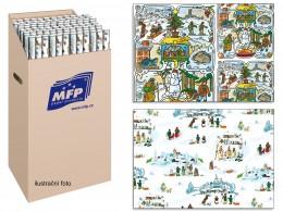 Balicí papír vánoční motiv Josef Lada archy v roli, 100x70cm 2ks