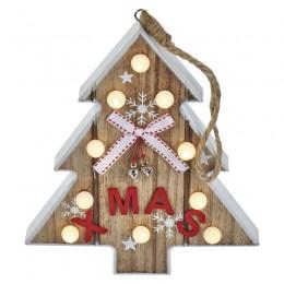 EMOS LED stromek dřevěný s časovačem vánoční dekorace