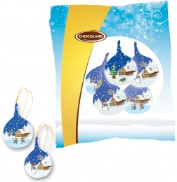 Chocoland Vánoční sáček Koule Zasněžená chaloupka